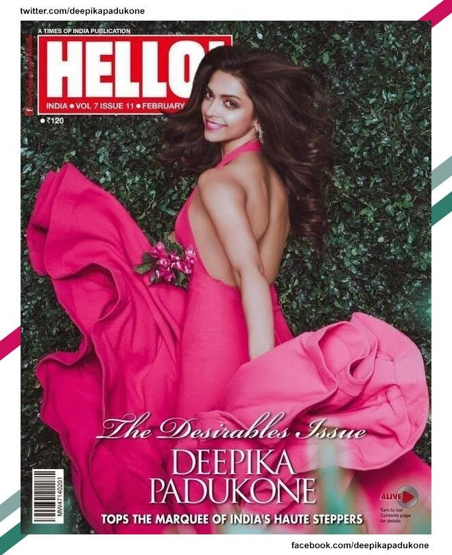 Deepika Padukone on cover of Hello in the Desirables Issue of the magazine