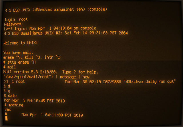 Supratim Sanyal's Blog: Installing 4.3 BSD Unix Quasijarus on VAX (SIMH MicroVAX 3900 BSD 4.3)