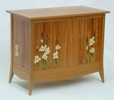 blanket chest with marquetry flowers