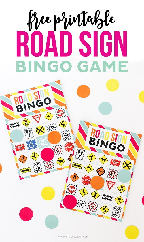 Printable Road Sign Bingo Game