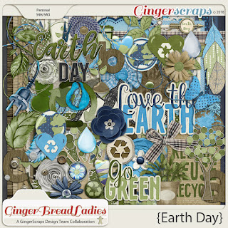 Creative Team, Annemarie, for GingerScraps -  GingerBread Ladies Collab: Earth Day (Free with Purchase) and April 2018 SCRAPLIFT Challenge