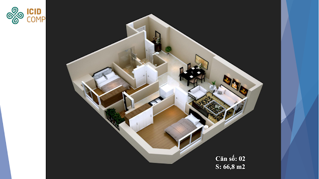 Thiết kế căn hộ 02 diện tích 66,8 m2 ICID COMPLEX
