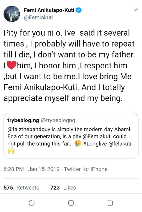 Femi Kuti Weighs In As Twitter User Says Falz Is The Modern Day Fela