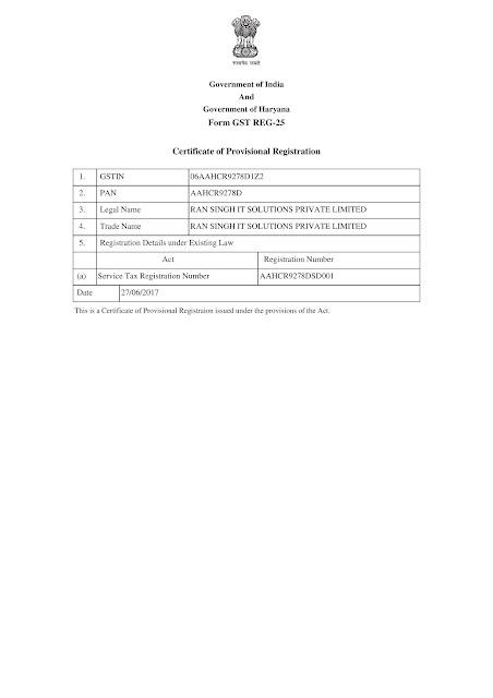 GSTN RAn Singh IT Solutions Pvt Ltd