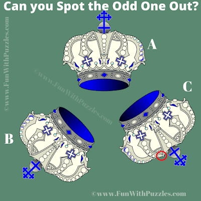 Answer of Spot the Odd One Out Royal Crown Picture Puzzle for Adults