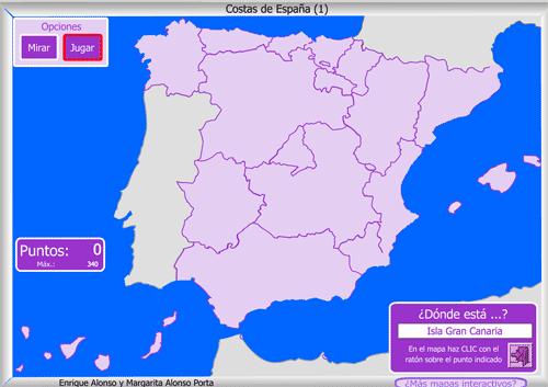 Juego para identificar islas, mares, cabos, golfos, etc. En castellano