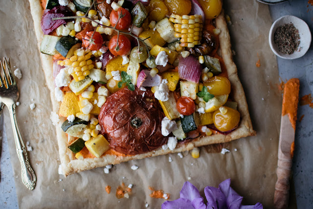 http://vegetarianventures.com/vegetarian-garden-tart-with-roasted-red-pepper-feta-spread-recipe/