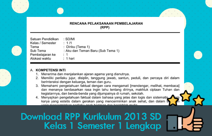 Download Contoh RPP Kurikulum 2013 SD Kelas 1 Semester 1 Lengkap