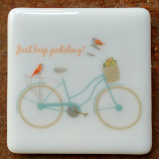 sassy glass studio fused glass coaster with bicycle