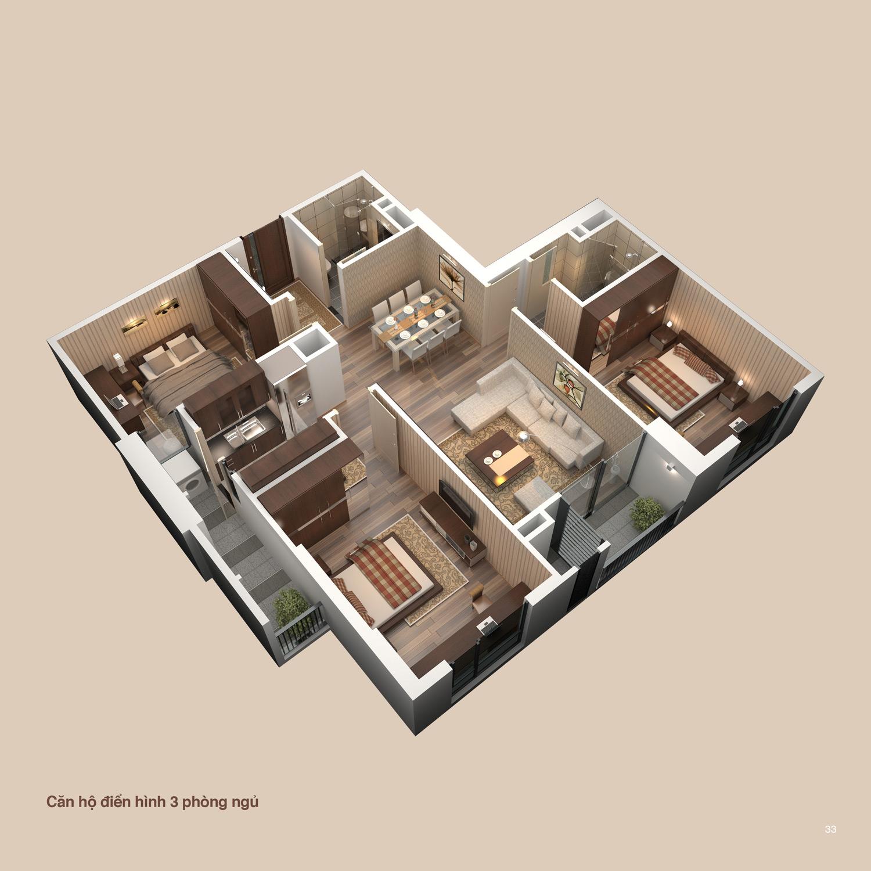 Phối cảnh 3D - Căn 3 phòng ngủ