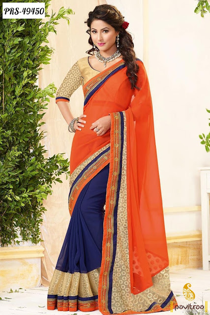 Akshra Hina Khan wedding wear blue jacquard designer saree online shopping at discount sale and deal at pavitraa.in