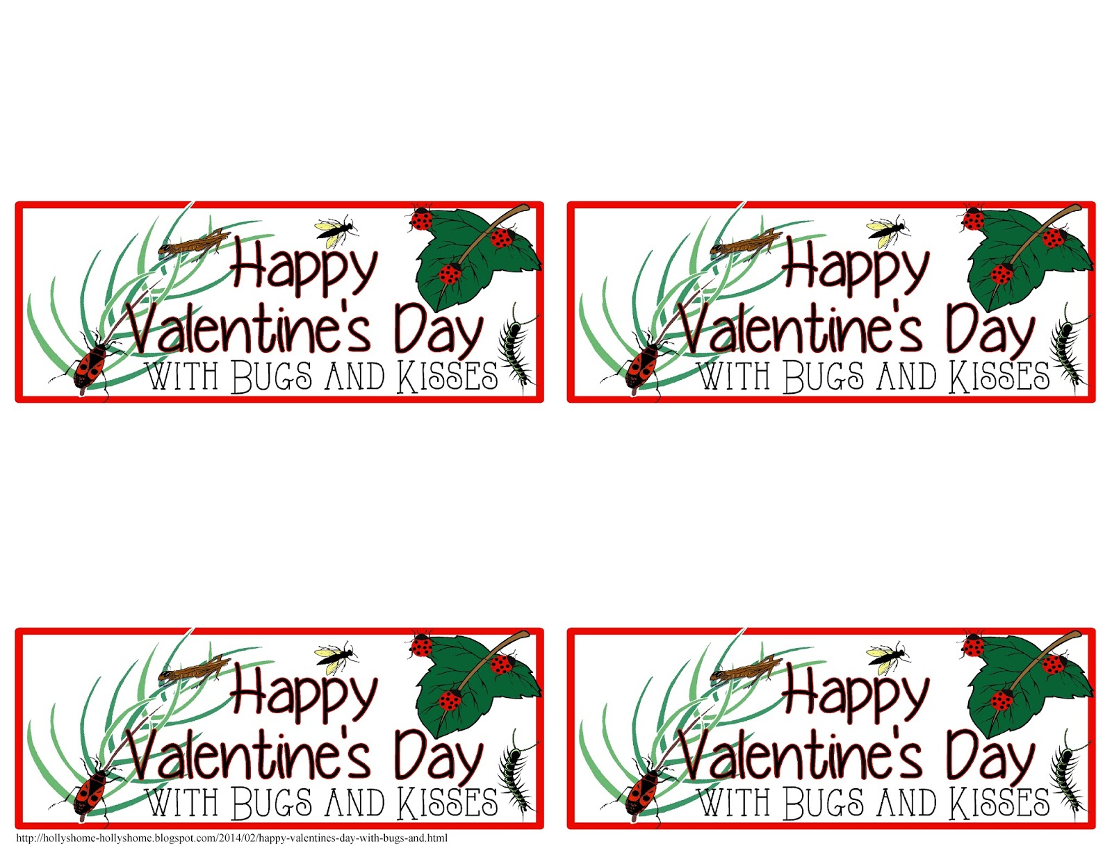 photo about Bugs and Kisses Free Printable named HollysHome Household Lifestyle: Content Valentines Working day with Insects and