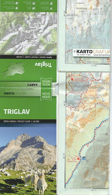 Triglav 1 to 25000 map we used during the hike. Map can be bought at most mountain huts.