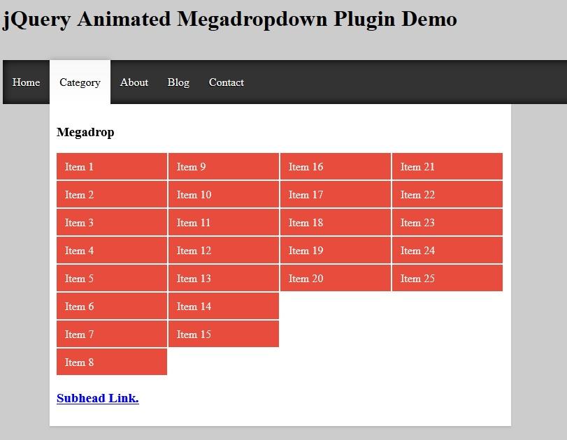 Dropdown Mega Menu dengan jQuery dan Animate