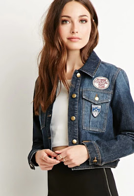 Patches on my crop denim jacket, CAD 21.99 from Forever 21