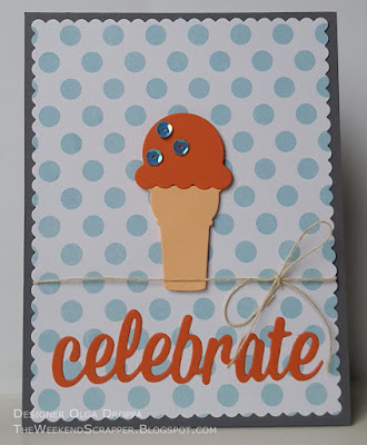 Handmade card using MFT Celebratory Greetings and Sweet Treats Die