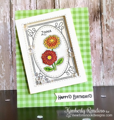 Flower Shaker Card by Kimberly Rendino | Garden Starter Stamp Set & Garden Window Die | Newton's Nook Designs #newtonsnook