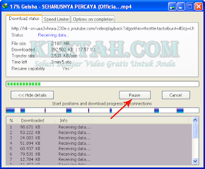 Proses download video youtube