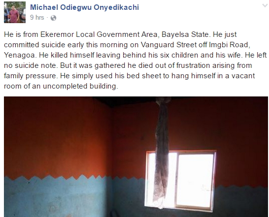 father of 6 kills himself bayelsa