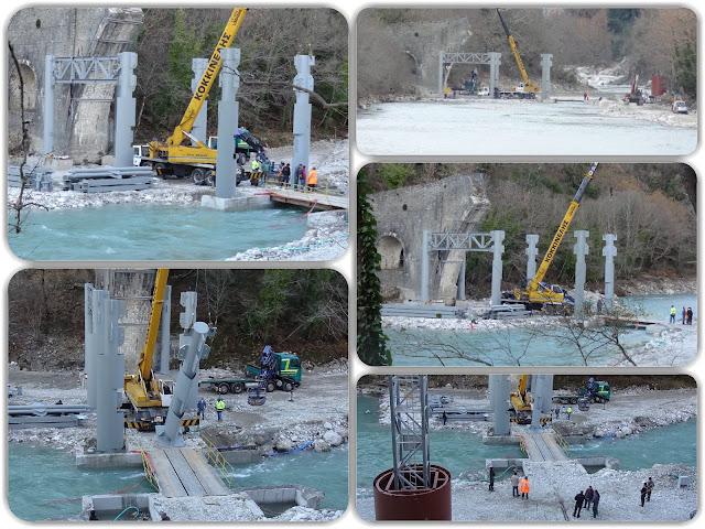 ΓΕΦΥΡΑ ΠΛΑΚΑΣ-Τοποθετήθηκαν οι μεταλλικοί πυλώνες! - : IoanninaVoice.gr