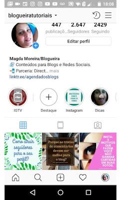 Siga o perfil de @blogueiratutoriais