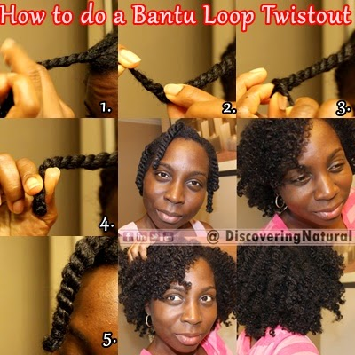 Bantu Loop Twistout on Natural Hair