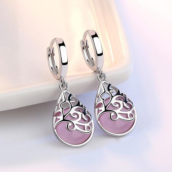 925 Sterling Silver Moonlight Opal Tears Totem Earrings