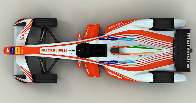 Mahindra Racing Formula E car from overhead