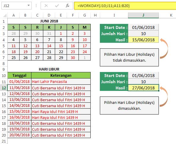 Cara Menggunakan Fungsi Excel WORKDAY