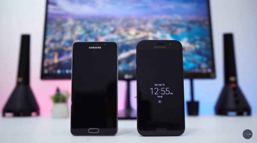 Desain Samsung A5 (2016) dan Samsung A5 (2017) bagian depan