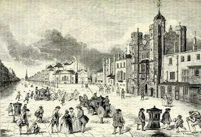 View of St James's Palace during the time of Queen Anne from Old and New London (1878)