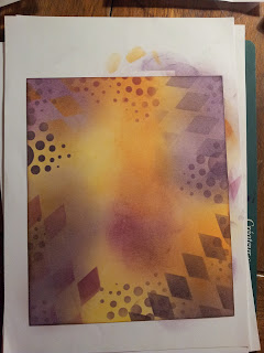 Purple and Orange inked background with stencilled patterns