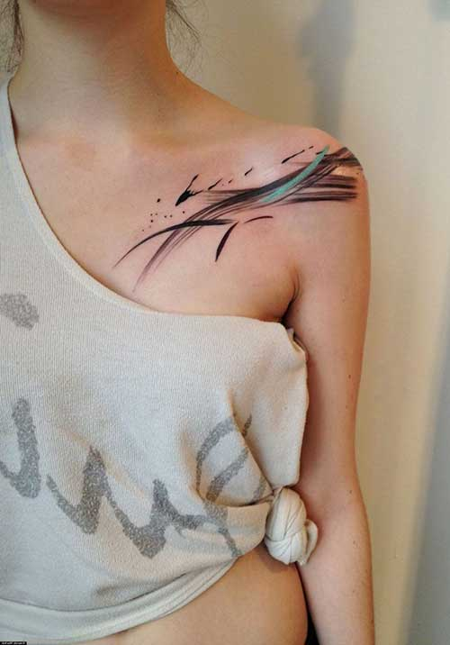 collar bone tattoo art