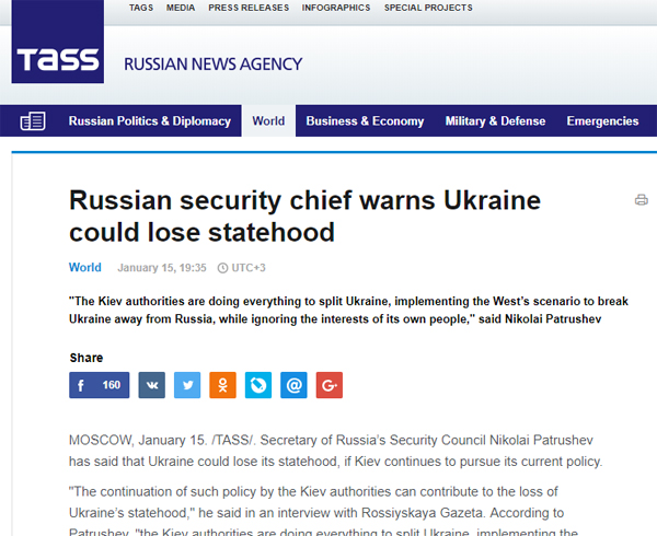 screenshot of Russian news agency item headlines: 'Russian security chief warns Ukraine could lose statehood'