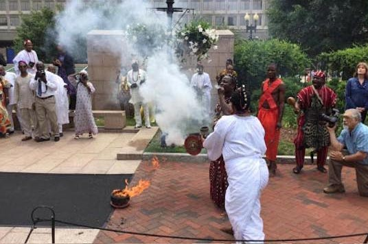 Drama as fire fighters are called in during Ooni Of Ife's ritual ceremony in Washington
