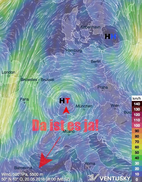 Windströmung, Prognose ICON für Pfingstsonntag. Quelle: Ventusky