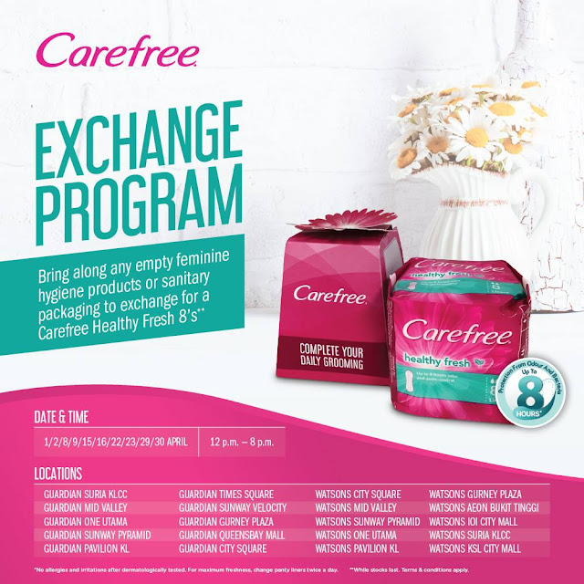 Watsons Malaysia Free Carefree® Healthy Fresh 8 Liners Pack Exchange Program