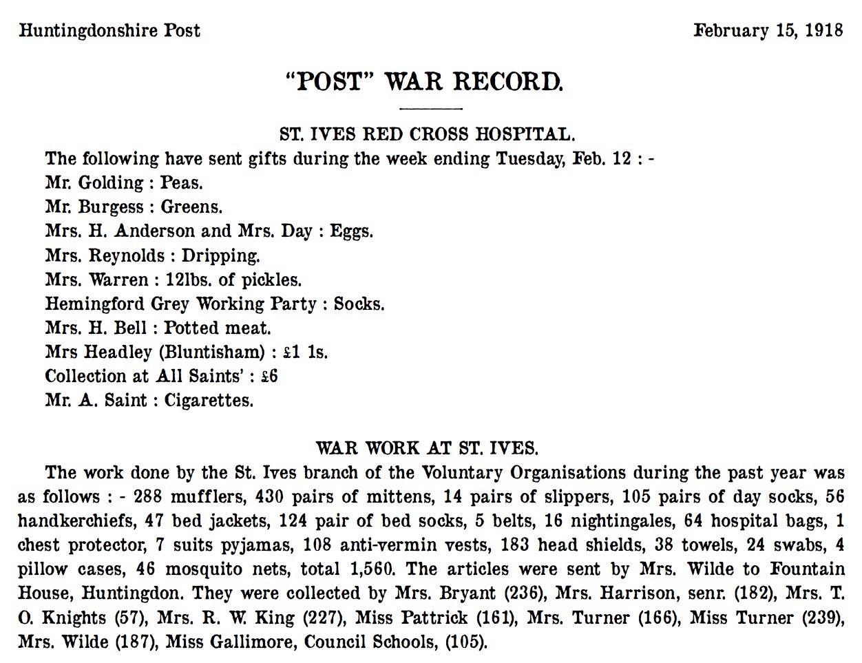 St Ives 15 February 1918