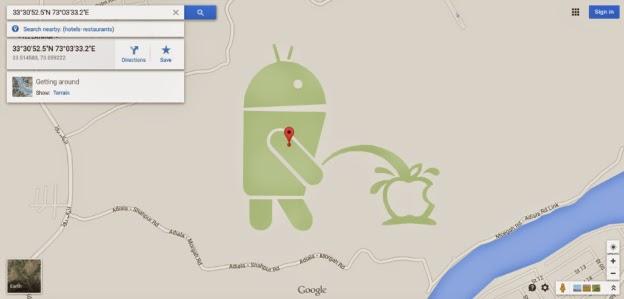 Google trolls Apple hard in Google Maps Easter egg - Dammybas Blog on easter eggs on bing, easter eggs on google search, easter eggs on movies, easter eggs on google street view, easter eggs on pinterest, easter eggs on games, easter eggs on google earth,