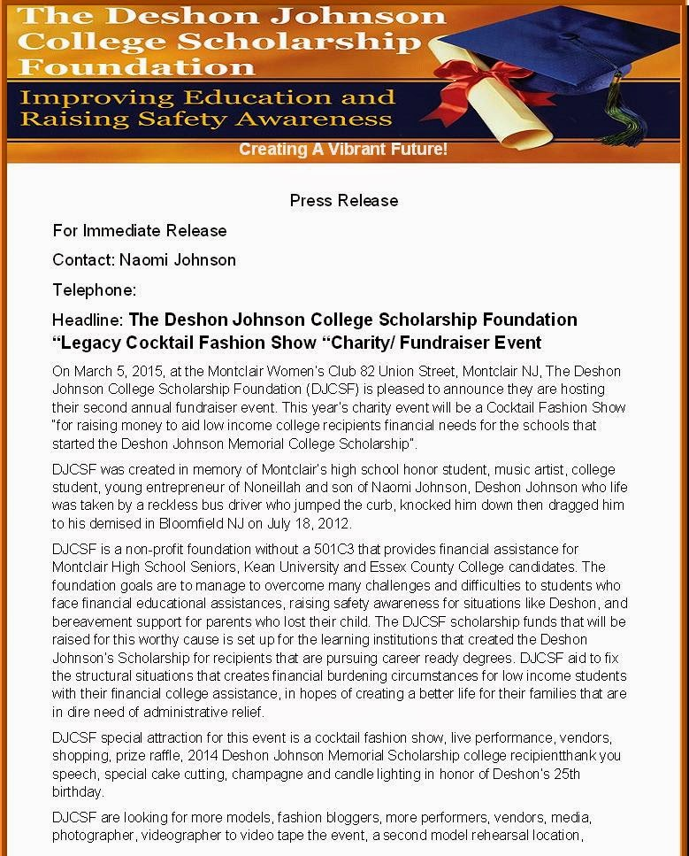 Sample Of Press Release For College Scholarship Charity Fundraiser Benefit Fashion Show Event