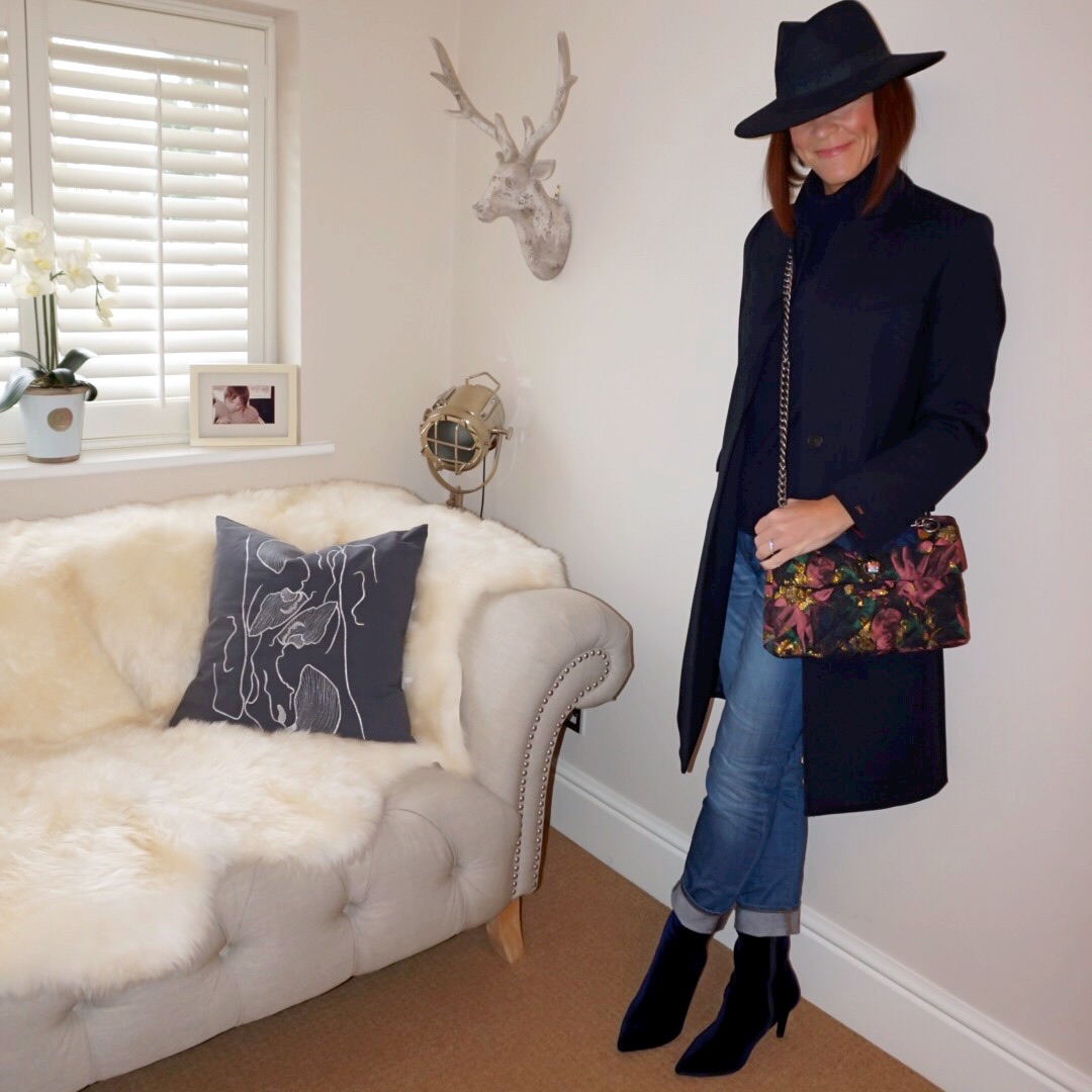 my midlife fashion, hobbs felt fedora hat, marks and spencer pure cashmere roll neck jumper, kurt geiger kensington fabric bag, tommy hilfiger celeste classic coat, j crew boyfriend jeans, marks and spencer stiletto heel ankle boots
