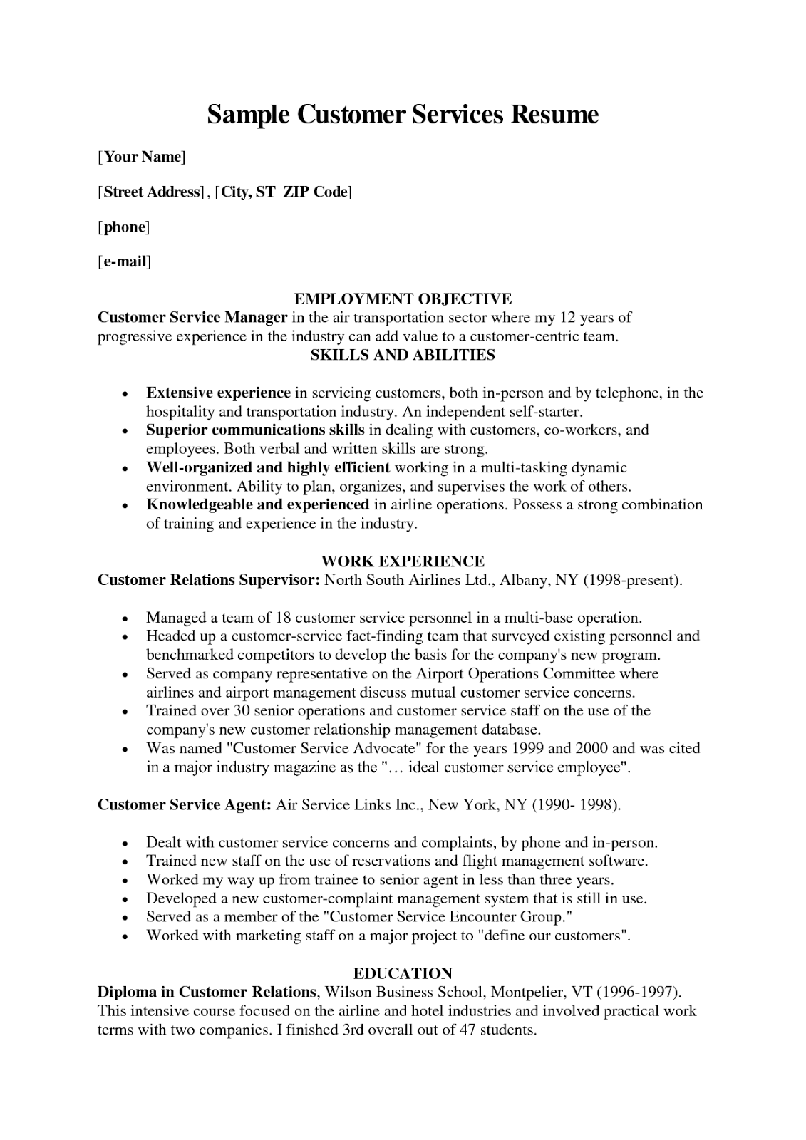 Verizon resume sample
