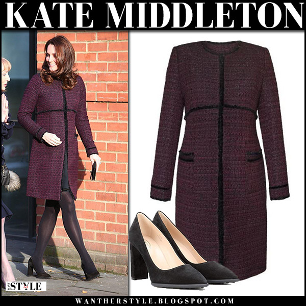 Kate Middleton in burgundy tweed boucle coat seraphine marina and black pumps tod's baby bump royal maternity style december 12