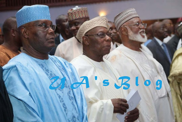 PHOTOS: Atiku, Obasanjo 'reunite' in Lagos