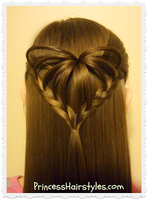 Half Up 3D Heart Hairstyle Valentine's Day Hairstyles Hairstyles For Girls Princess Hairstyles