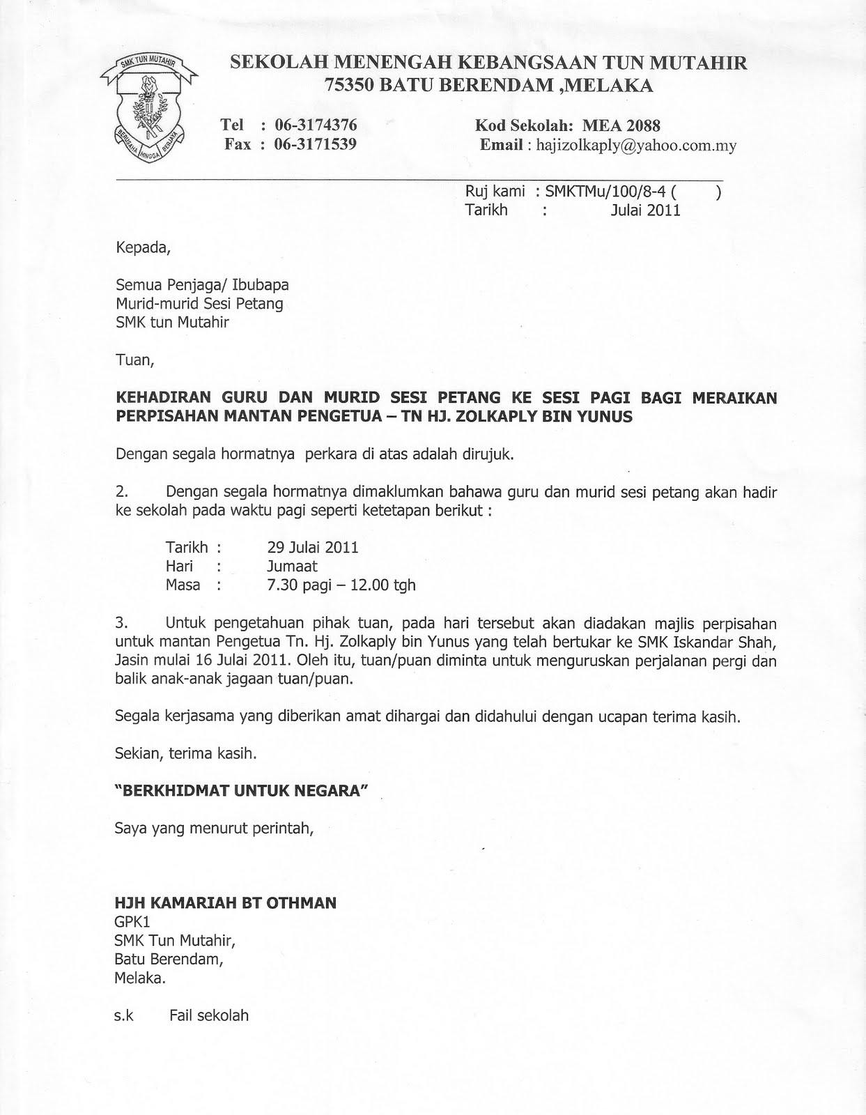 Format Surat Rasmi Makluman Mewarnai X