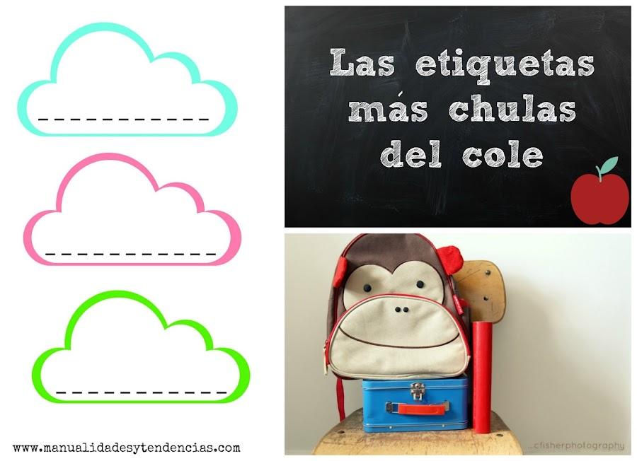 Etiquetas en forma de nube para libros y cuadernos