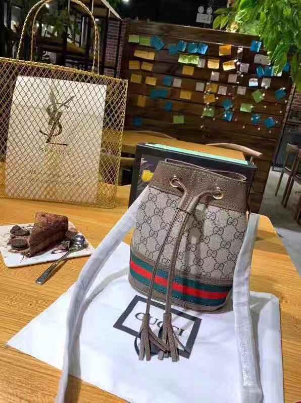 fe16e795e29 GUCCI Ophidia Mini GG Supreme Canvas Bucket Bag (Suede) Drawstring Handbag  Sling Bag