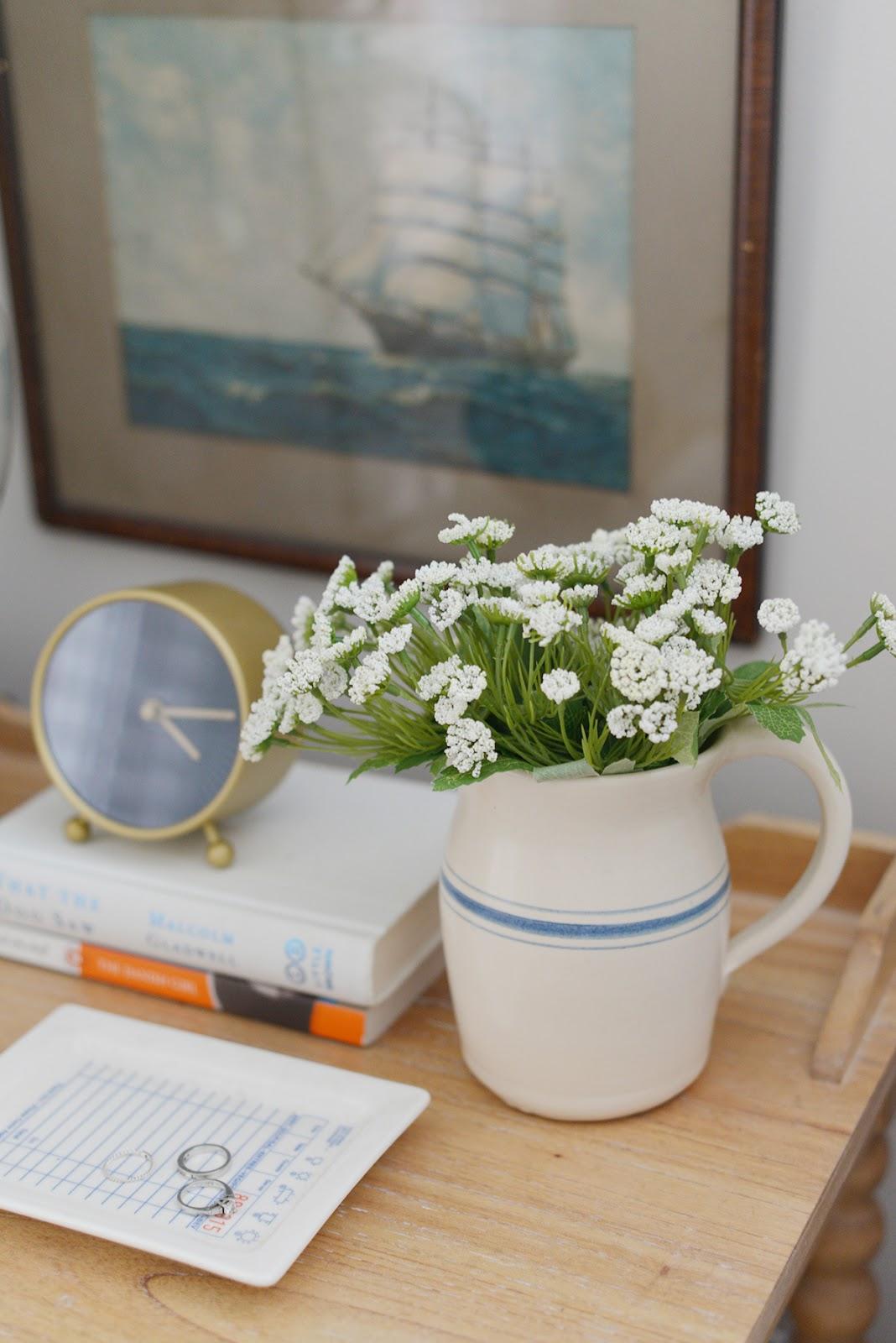 cottage bedroom, spool nightstand, modern country bedroom, stoneware vase