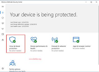 Virus & Threat protection settings pada windows defender